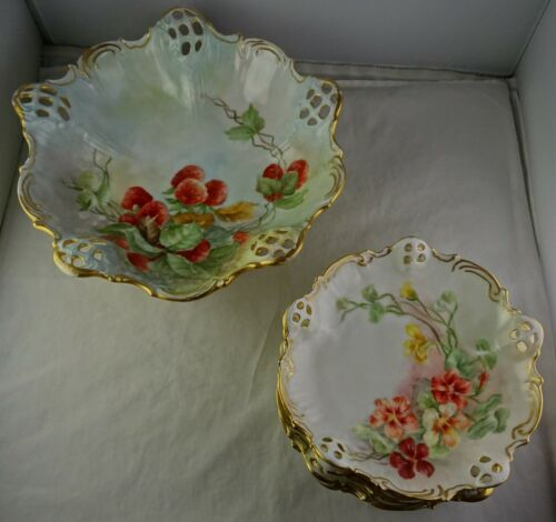 7-Piece Rosenthal Moliere Hand Painted Reticulated Openwork German Porcelain Set