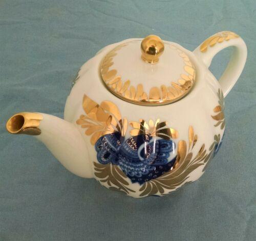 vintage Russian Imperial Lomonosov tea pot retired cobalt blue peacock design