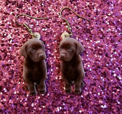 Chocolate Labrador Retriever Dog light weight fun earrings  jewelry FREE SHIP, used for sale  Shipping to Canada