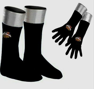 Power Rangers Operation Overdrive Black Boots Covers & Gloves Child costume New (Power Rangers Boots)