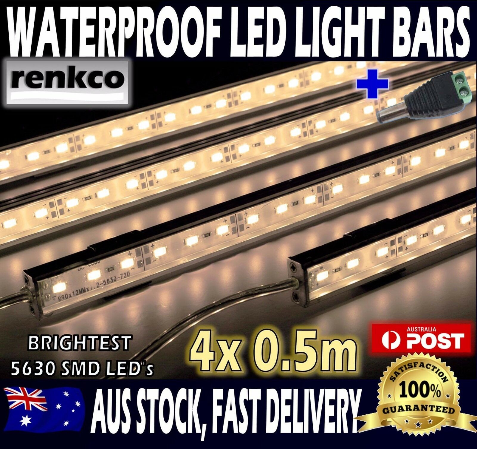 4X12V Waterproof Warm White 5630 Led Strip Lights Bars For Car Camping Boat