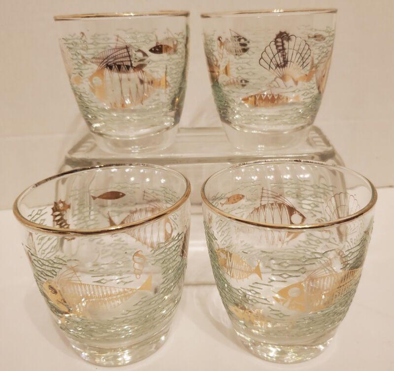 4 Vintage MCM Atomic Libbey MARINE LIFE Lowball Glass Gold & Green ~ Fish Shells
