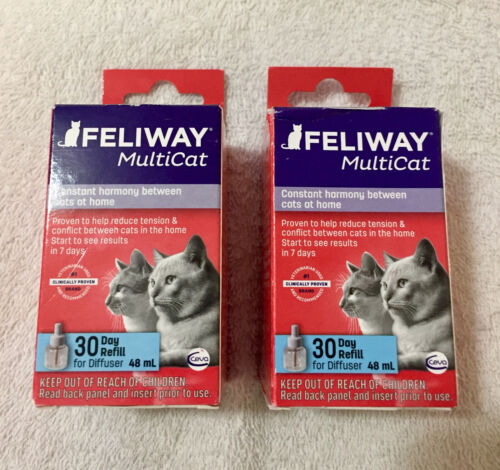Genuine Feliway MultiCat 30 Day Refill for Diffuser Lot of 2 *FAST FREE SHIPPING