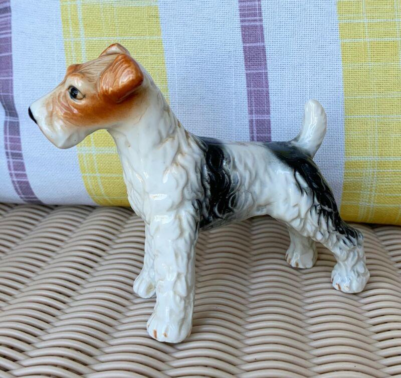 Airedale Fox Terrier Dog Figurine Bone China  Brown & White Vintage