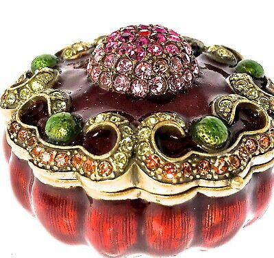 Purple Fancy Scroll Jewelry Trinket Box 1318RD Austrian Crystal Jeweled Enamel  Crystal Purple Trinket Box