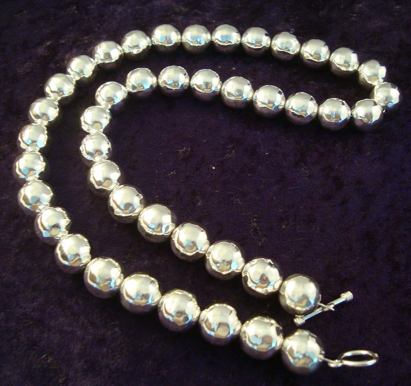 Beads Necklace Beads: TAXCO MEXICAN STERLING SILVER HAMMERED BEADED BEAD