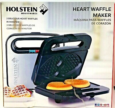 Holstein Housewares Non-Stick Heart Waffle Maker, Black/Stainless Steel-SEE PICS