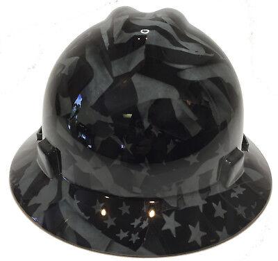 Msa Full Brim Vguard Hard Hat Slate Grey Midnight Flag W Free Brb Tshirt