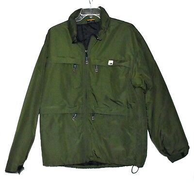Split Green Insulated Ski/Snowboard Mens Jacket with Fold In Hood Size L