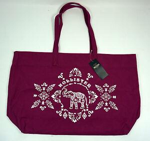 Hollister NEW  Elephant Graphic Cotton Beach Shopper School Bag Tote Pink BNWT