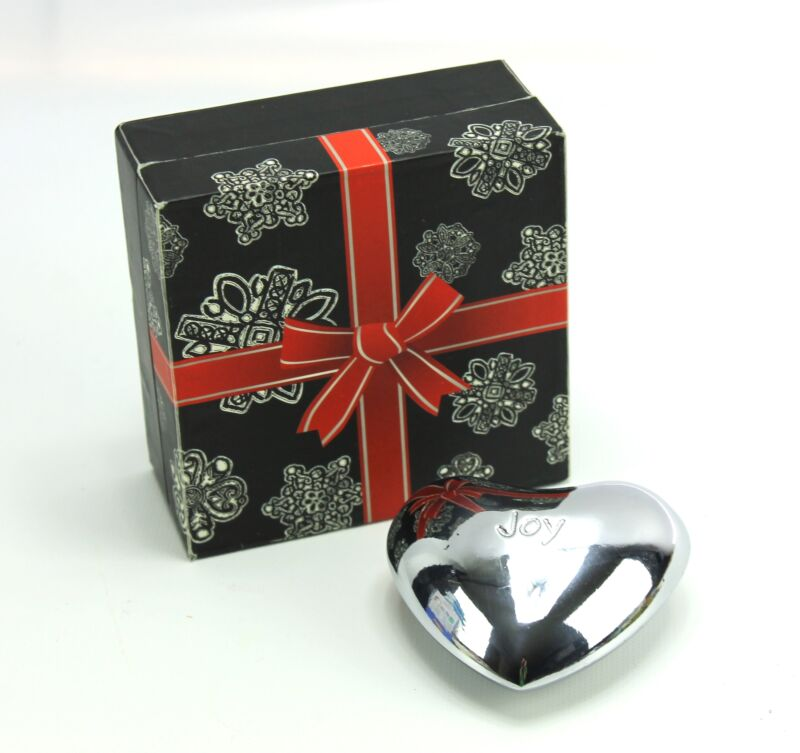 "Brighton Silver JOY Puffy Heart Chime 2-3/4"" & Box"