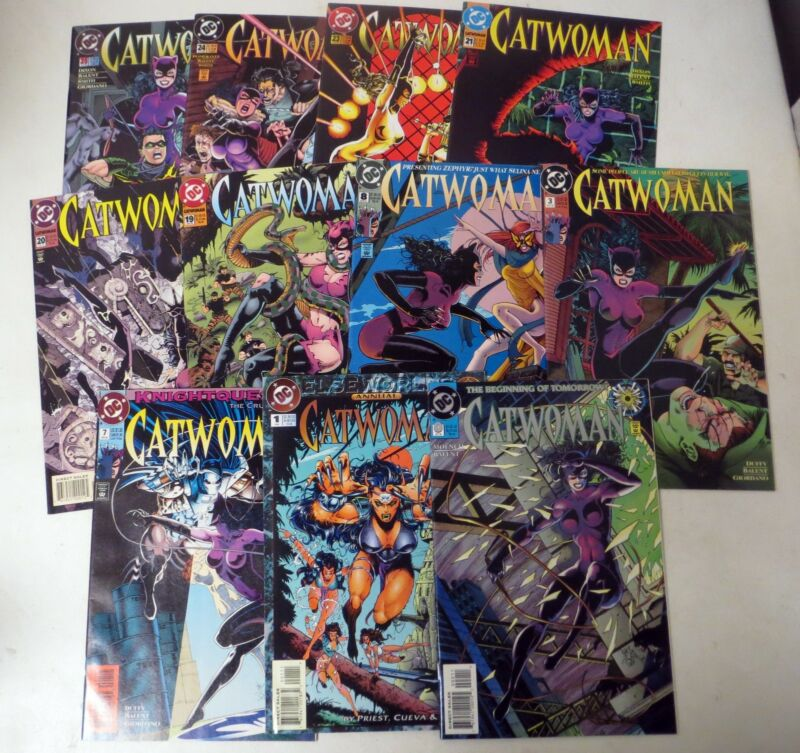 Vintage 1990s COMIC BOOK  CATWOMAN Jim Balent LOT (11) #s 0, 7, 8, 9, and more