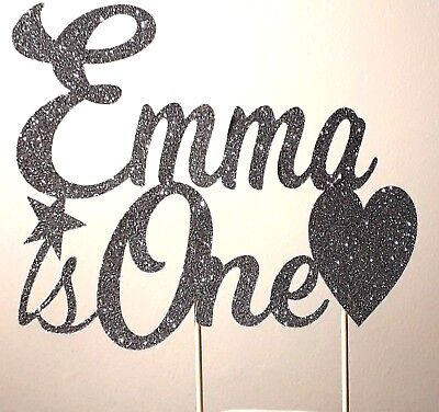 Custom Personalised Glitter Birthday Cake Topper with Name & Age plus shape