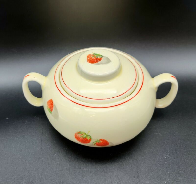 "Vintage Strawberry Covered Sugar Bowl WS George ""Shortcake"" Cavitt-Shaw"