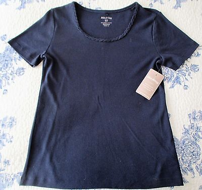 WHITE STAG, WOMANS NAVY  SHORT SLEEVE PULLOVER TEE. SIZE S (4-6). NWT.