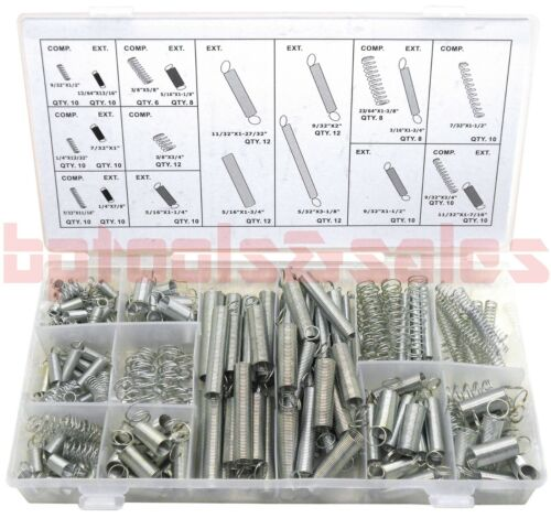 200pc SPRING ASSORTMENT SET ZINC PLATED STEEL COMPRESSION CARBURETOR EXTENSION