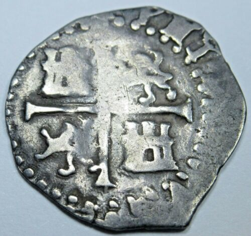 1588 Spanish Silver 1/2 Reales Piece of 8 Real Colonial Pirate Cob Treasure Coin