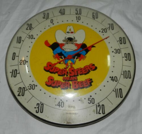 """Vintage Super Steers Means Super Beef Advertising Farm Thermometer, 12"""""""