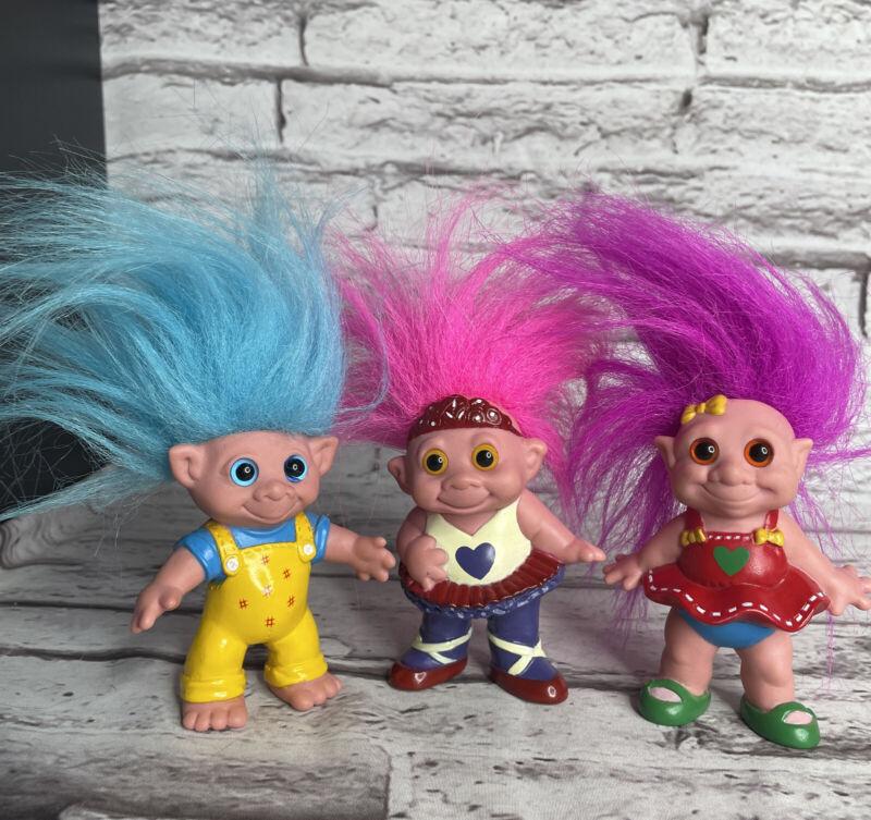 "MT Vintage Troll Lot Of 3 Blue Pink Purple Hair 4"""
