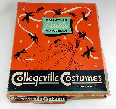 Vintage Halloween Collegeville Costumes Skeleton Fabric Hood And Suit