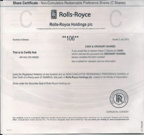 Original Rolls Royce Holdings Group. Stock Certificate uncancelled, 2011-2016