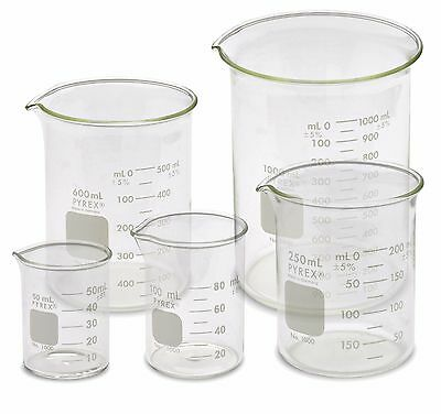 Corning Pyrex 1000-pack Low Form Beaker Set - 5 Sizes 50 100 250 600 1000ml