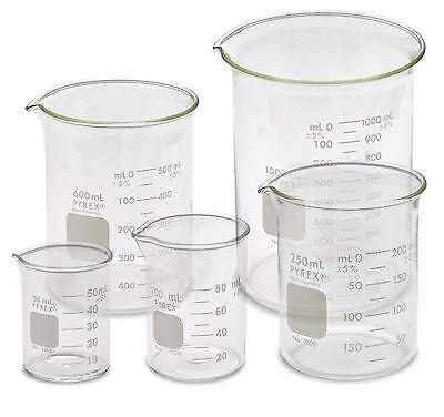 Corning Pyrex 1000-pack Low Form Beaker Set - 5 Sizes 50 100 250 600 1000ml