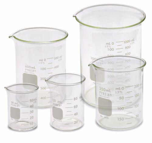 Corning Pyrex 1000-PACK Low Form Beaker Set - 5 Sizes, 50, 100, 250, 600, 1000ml