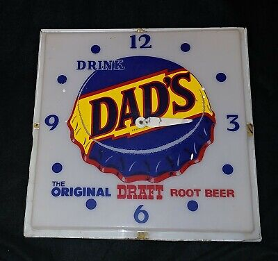 Vintage Drink Dad's Root Beer Wall Clock - Excellent Condition - Parts & Repair