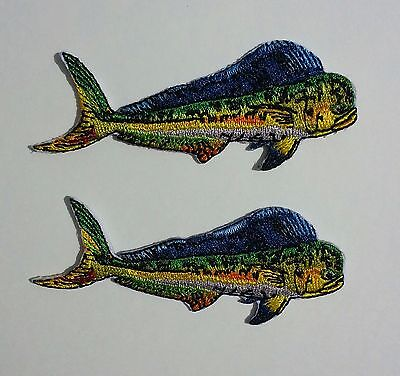 "Dolphin Mahi Fishing iron on 2 patches  3 3/16"" small for shirts, hats, gear"