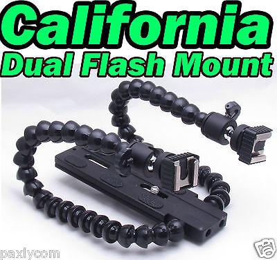 Camera DSLR Twin DUAL-ARM Shoe Macro Flash Bracket Panasonic Pentax R1C1Flashgun