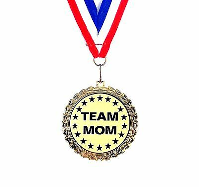 Team Mom Medal- 2 1/2 Inch- Bright Gold Finish- Free Neck Ribbon