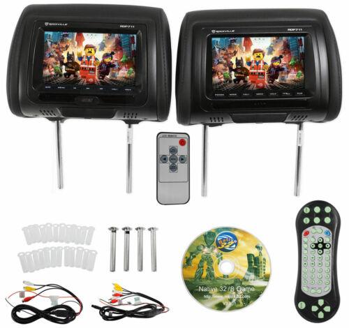"BK 7"" Black Car Headrest Monitors w/DVD Player/USB/HDMI+Games-Rockville RDP711"