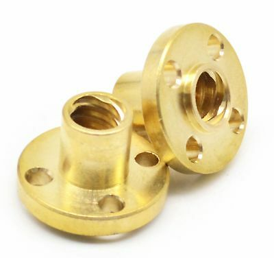12mm T12 Right Hand Flange Trapezoidal Brass Nut Acme Thread - Lead 2 To 12mm