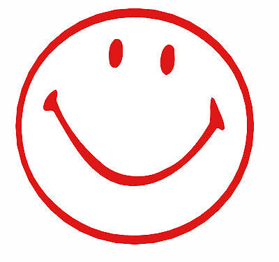 Accustamp Happy Face Pre-inked Stamp 58 Inch Dia Red