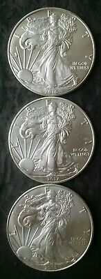 2016, 2017, and 2018 $1 American Silver Eagle Dollars