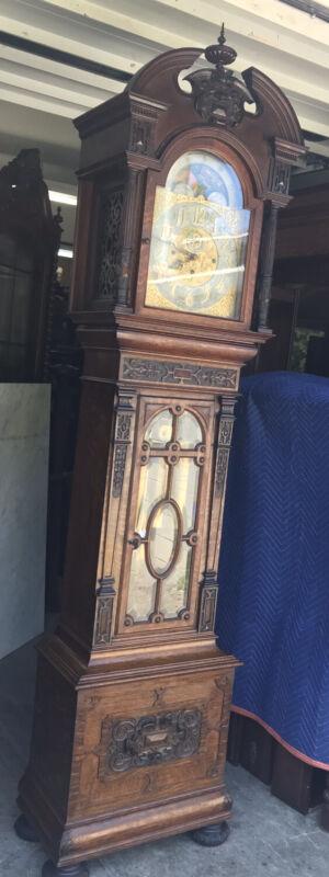 CARVED OAK ELLIOTT GRANDFATHER CLOCK WITH BELLS