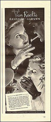 1945-Vintage ad for Van Raalte Reindoe Gloves`Art, Lady Cigarette (030115)