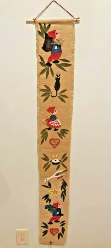 Vintage Christmas Burlap felt wall door hanging Gnomes 53 Inches