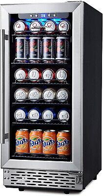 15 Inch Beverage Cooler Refrigerator 96 Can Glass Door Fridge Soda Beer Or Wine