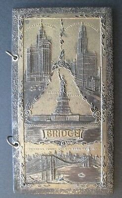 VINTAGE NEW YORK CITY METAL SOUVENIR WALLET c1939 Brooklyn Bridge, Made in Japan
