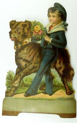 1880's-90's Large Victorian Die-Cut Standee Sailor-Girl & Big Fluffy Dog *P](Big Fluffy Dice)