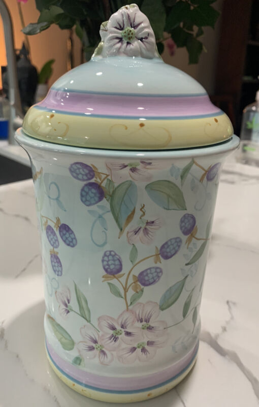 Capriware Canister Violets Hand Painted Medium FREE SHIPPING