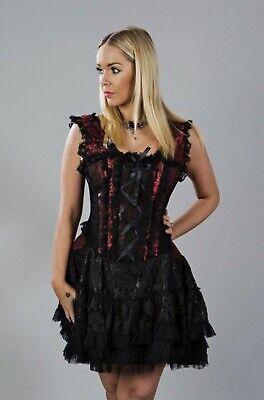 "Burleska Jasmin Burlesque Red Brocade Corset Dress 28"" Victorian Goth Steampunk"