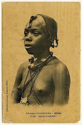SENEGAL GIRL LAHOB E M DCHEN VINTAGE 1910S ETHNIC NUDE PC FORTIER 1145