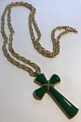 "- Vintage Avon JULIET CROSS Pendant Necklace Jade 36"" Chain"
