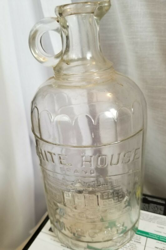 Antique White House Vinegar Handled Jug Jar Bottle Ribbed 1920s Quart 8 1/4 in