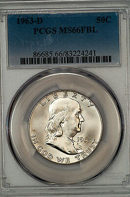 Click now to see the BUY IT NOW Price! 1963 D FRANKLIN HALF PCGS MS66FBL FULL BELL LINES BRILLIANT GEM 86685.A7103X