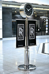 Rolls Royce Double-Sided Chrome Timepiece Clock Large Art Street Post Sign Flags