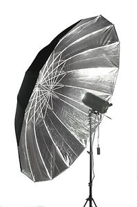 Studio Umbrella Silver/Black Parabolic Type 74/85